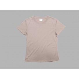 Women's Round Neck T-shirt(cotton feeling, Beidge)(10/pack)