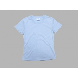 Women's Round Neck T-shirt(cotton feeling, Light Blue )(10/pack)