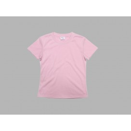 Women's Round Neck T-shirt(cotton feeling, Pink)(10/pack)