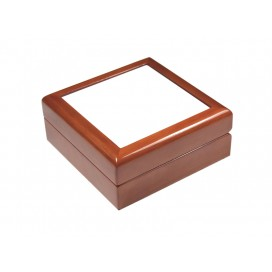 "Jewelry Box w/ Ceramic tile(6""x6"",Maroon)(10/pack)"