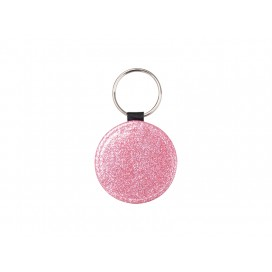 Glitter PU Leather Key Chain (Round, Pink) (10/pack)