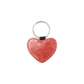 Glitter PU Leather Key Chain (Heart, Red) (10/pack)