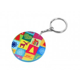 60mm Thick Round Plastic Keychain(Color Edge)(10/pack)  (MOQ: 5pack)