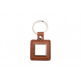 PU Key Chain(Square, Brown) (10/pack)
