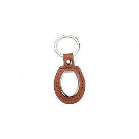 PU Key Chain(Oval, Brown) (10/pack)