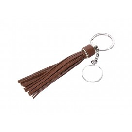 Round Keychain w/ Long Tassel(Brown) (10/pack)