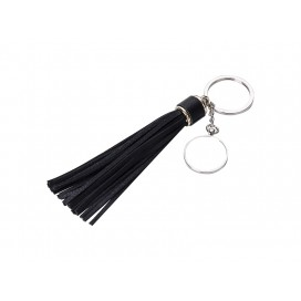 Round Keychain w/ Long Tassel(Black) (10/pack)