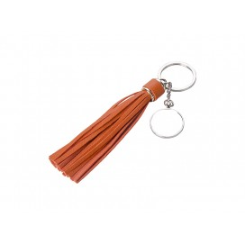 Round Keychain w/ Long Tassel(Orange) (10/pack)