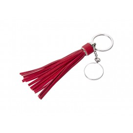 Round Keychain w/ Long Tassel(Red) (10/pack)