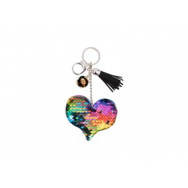 Sequin Keychain w/ Tassel and Insert (Mixed-Color Heart) (10/pack)