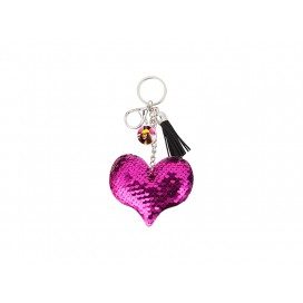 Sequin Keychain w/ Tassel and Insert (Purple Red Heart) (10/pack)