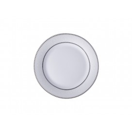 """8"""" Rim Plate w/ Silver Rim and Pattern (26/pack)"""