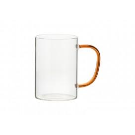 12oz/360ml Glass Mug w/ Red Handle (Clear)(10/pack)