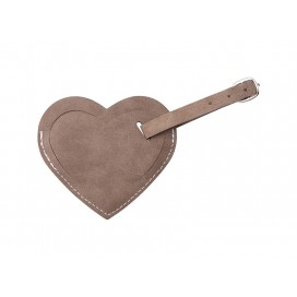 Double Side PU Leather Luggage Tag(Gray, Heart Shape) (10/Pack)
