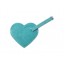 Double Side PU Leather Luggage Tag(Green, Heart Shape) (10/Pack)