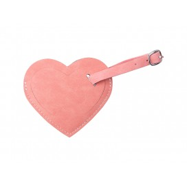 Double Side PU Leather Luggage Tag(Pink, Heart Shape) (10/Pack)