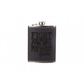 8oz Stainless Steel Flask with PU Cover(Black) (10/carton)