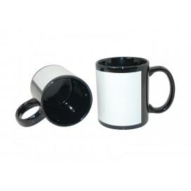 11oz Black Mug with White Patch (36/case)