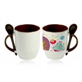 11oz Color Sublimation Spoon Mug-Brown(36/case)