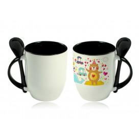 11oz Color Sublimation Spoon Mug-Black(36/case)