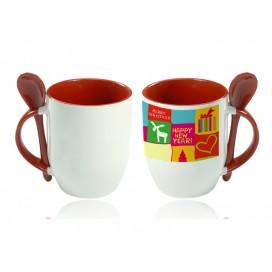11oz Color Sublimation Spoon Mug-Red(36/case)