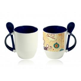 11oz Color Sublimation Spoon Mug-Blue(36/case)