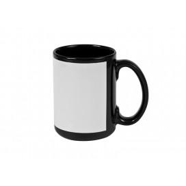 15oz Black Mug with White Patch (36/case)