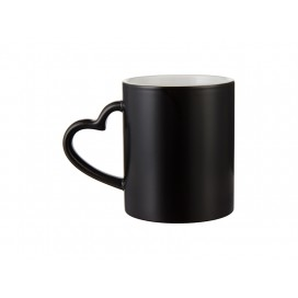 11oz Full Color Change Mug with Heart Handle(Semi Glossy, Black) w/ White Box (48/case)