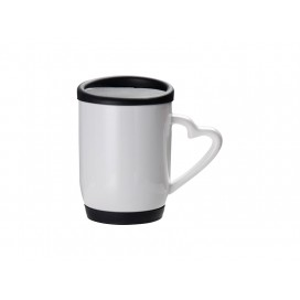 12oz/360ml Ceramic Mug w/ Silicon Lid and Base(Black)(36/pack)