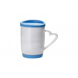 12oz/360ml Ceramic Mug w/ Silicon Lid and Base(Light Blue)(36/pack)