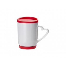 12oz/360ml Ceramic Mug w/ Silicon Lid and Base(Red)(36/pack)