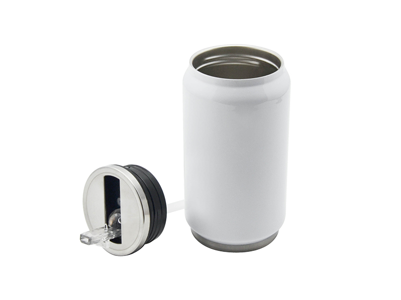 12oz stainless steel coke can with straw white 10 pack for Coke can heater
