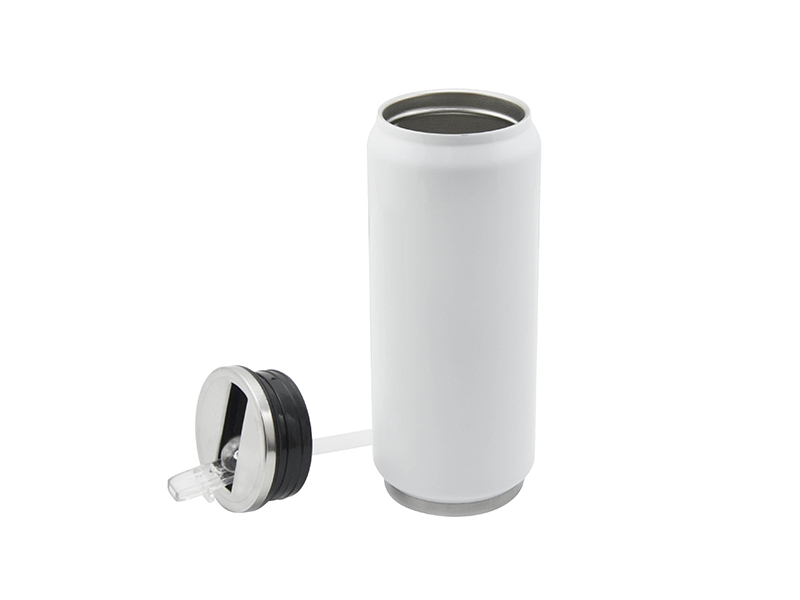 17oz stainless steel coke can with straw white 10 pack for Coke can heater