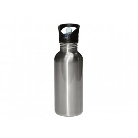 600ML Stainless Steel Water Bottle with Straw Top - Silver(50/pack)