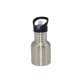 400ml Silver Stainless Steel Water Bottle with Straw Top (60/case)