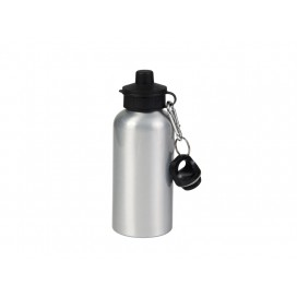 600ml Silver Aluminium Water Bottle with two tops (60/case)
