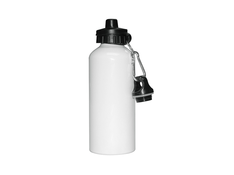 600ml White Aluminium Water Bottle With Two Tops 60 Case