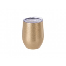 12oz/360ml Stainless Steel Stemless Glitter Cup w/ Lid (Rose Gold) (50/carton)