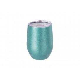 12oz/360ml Stainless Steel Stemless Glitter Cup w/ Lid (Light Blue) (50/carton)
