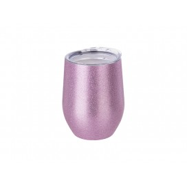 12oz/360ml Stainless Steel Stemless Glitter Cup w/ Lid (Pink) (50/carton)