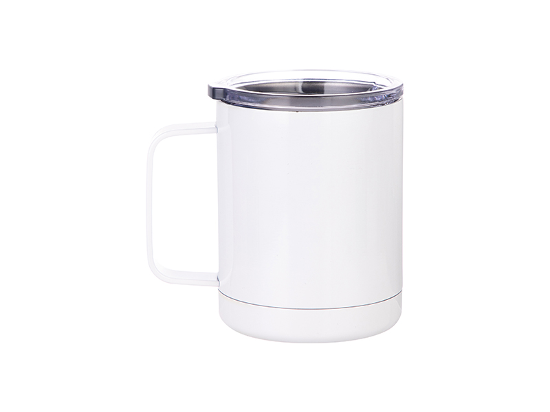 10oz 300ml Stainless Steel Coffee Cup White 25 Carton