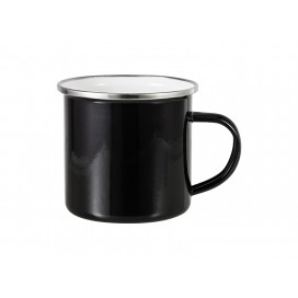 12oz Enamel Mug w/ Flat Bottom-Black (48/carton)
