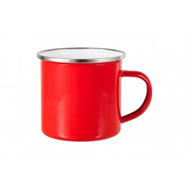 12oz Enamel Mug w/ Flat Bottom-Red (48/carton)