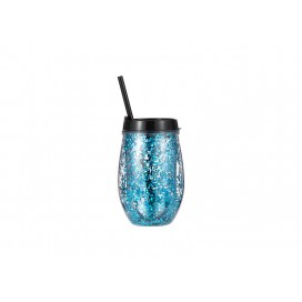 Sublimation 10oz/300ml Double Wall Clear Plastic Stemless Cup (Black, w/ Blue Glitters)(10/pack)