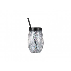 Sublimation 10oz/300ml Double Wall Clear Plastic Stemless Cup (Black, w/ Silver Glitters)(10/pack)