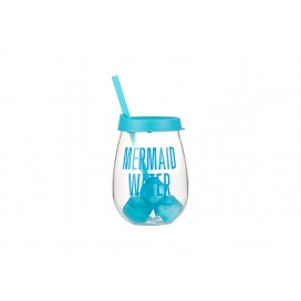 Sublimation 10oz/300ml Clear Plastic Stemless Cup (Light Blue, w/ Reusable Ice Cubes)(10/pack)
