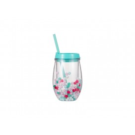 Sublimation 10oz/300ml Double Wall Clear Plastic Stemless Cup (Light Green, w/ Mini Foam Balls)(10/pack)