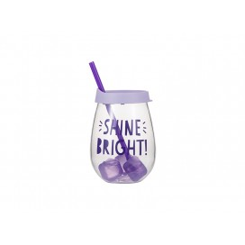 Sublimation 10oz/300ml Clear Plastic Stemless Cup (Light Purple, w/ Reusable Ice Cubes)(10/pack)