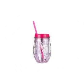 Sublimation 10oz/300ml Double Wall Clear Plastic Stemless Cup (Rose Red, w/ Purple Glitters)(10/pack)