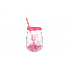 Sublimation 10oz/300ml Clear Plastic Stemless Cup (Pink, w/ Reusable Ice Cubes)(10/pack)
